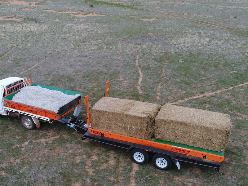 Daniher Bale Feeder - Loaded with two bales and cotton seeds